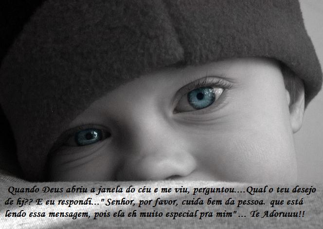 Recado Facebook Bebê olhos azuis
