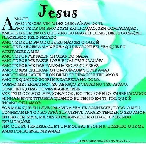 Recado Facebook Eu te amo Jesus