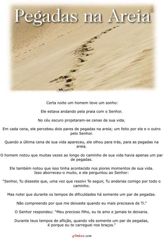 Recado Facebook Pegadas na areia