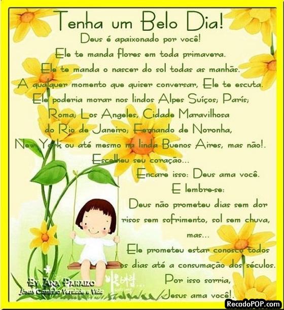 Recado Facebook Belo dia