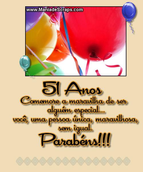 Recado Facebook 51 Anos Parabéns