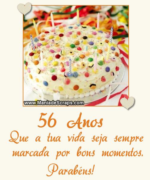 Recado Facebook 56 Anos Parabéns