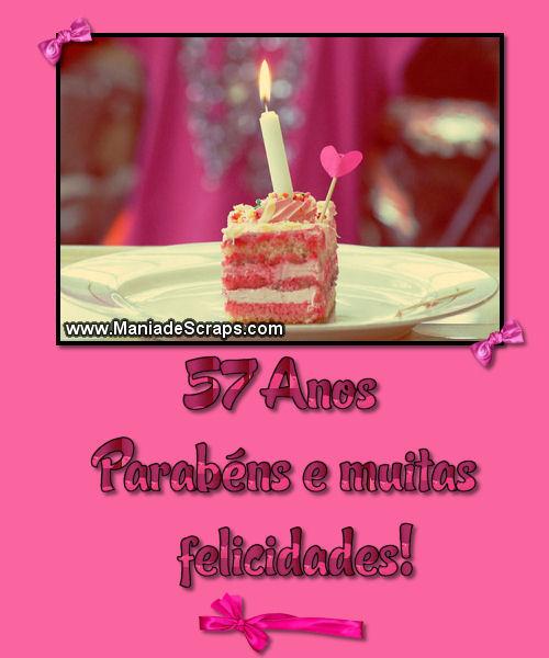 Recado Facebook 57 Anos Parabéns e Muitas Felicidades