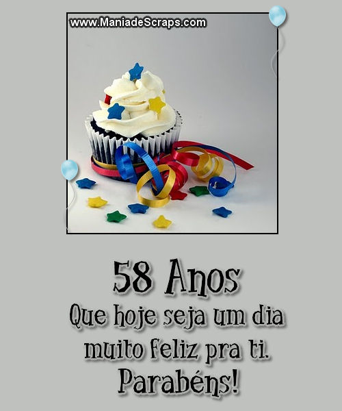 Recado Facebook 58 Anos Parabéns