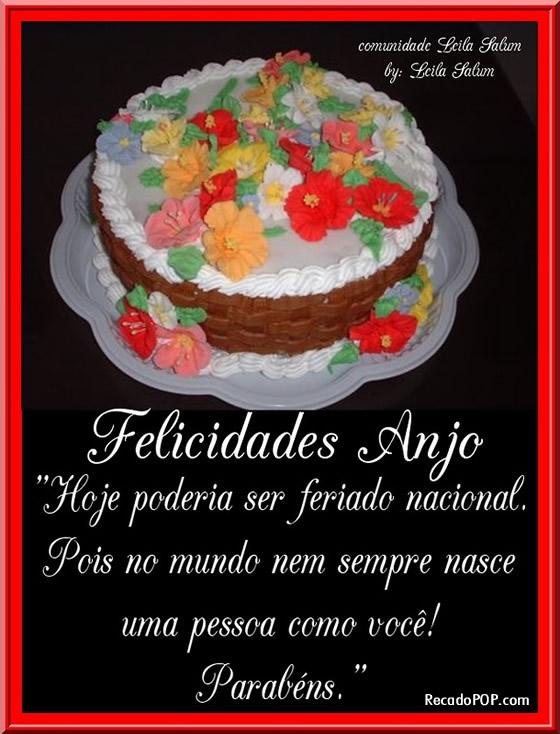 Recado Facebook Felicidades, Anjo!