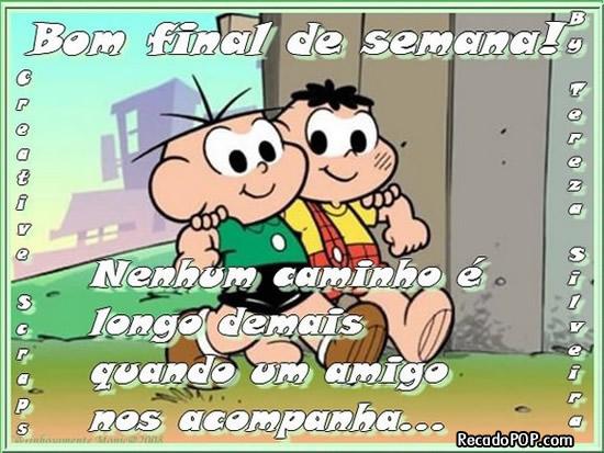 Recado Facebook Bom Final de Semana Cebolinha e Cascão