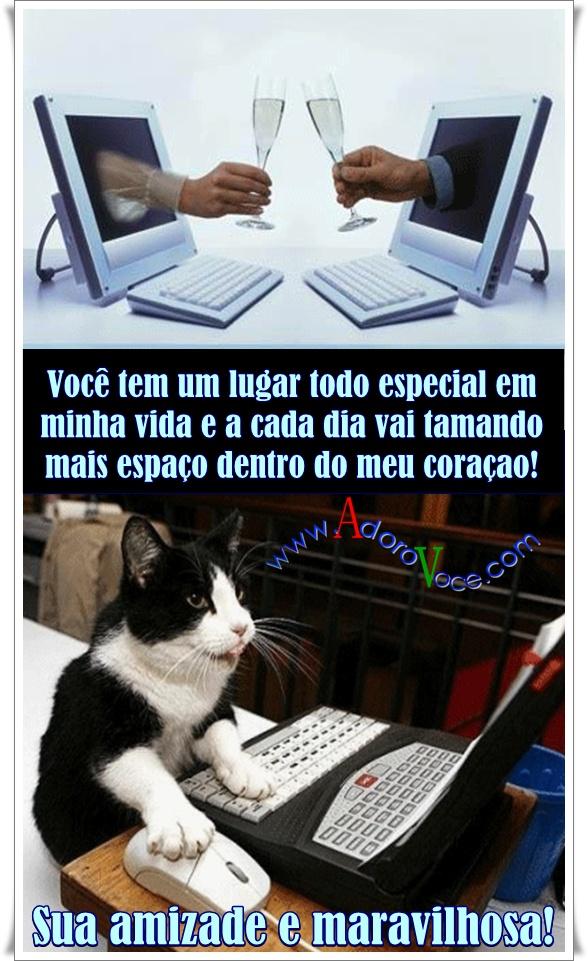 Recado Facebook Amizade gatinho no notebook