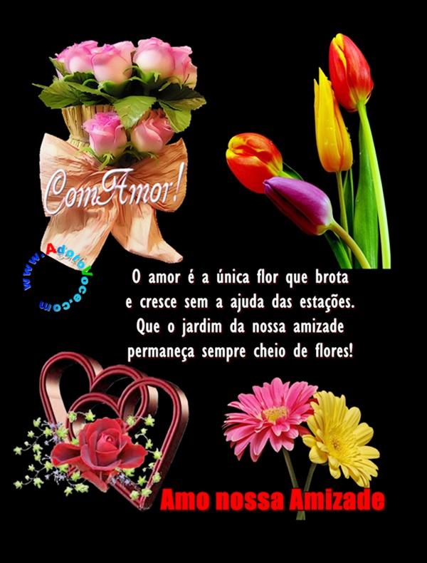 Recado Facebook Amo nossa amizade flores