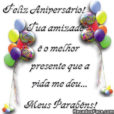 Recado Facebook Feliz aniversário, meus parabéns
