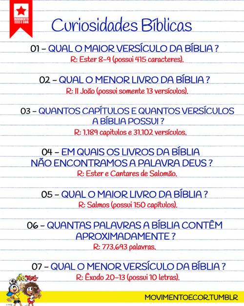 Recado Facebook Curiosidades da Bíblia