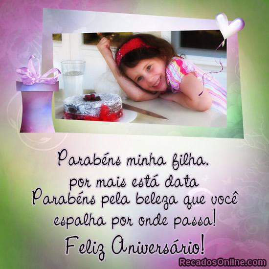 Recado Facebook Parabéns minha filha, feliz aniversário!