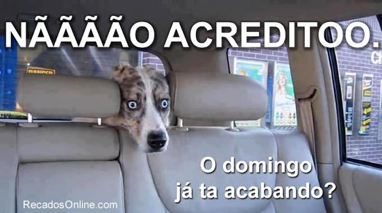 Recado Facebook O domingo já tá acabando!
