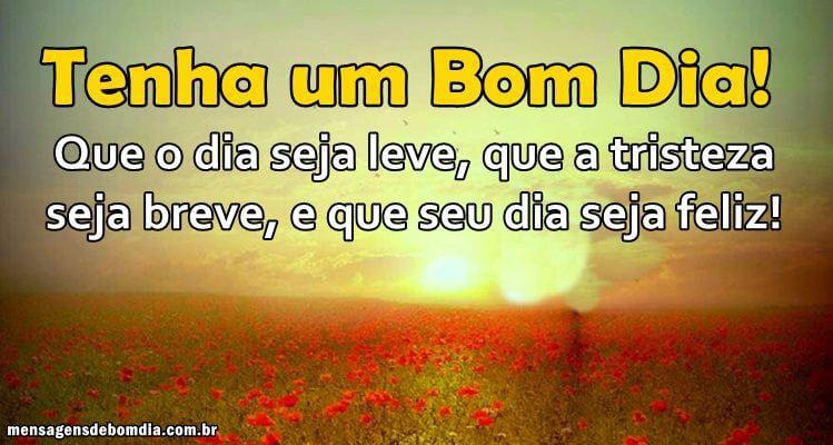 Recado Facebook Que o dia seja leve, que a tristeza seja breve, e que seu dia seja feliz!