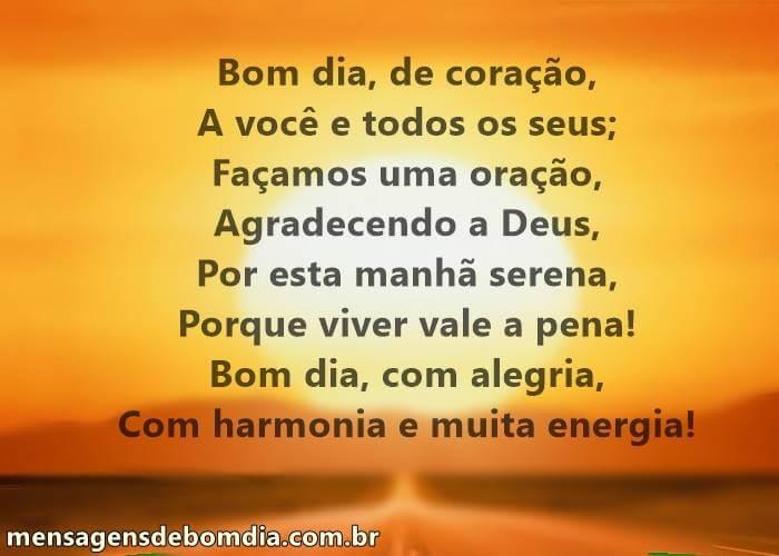 Bom Dia, Com Alegria, Harmonia E Muita Energia!
