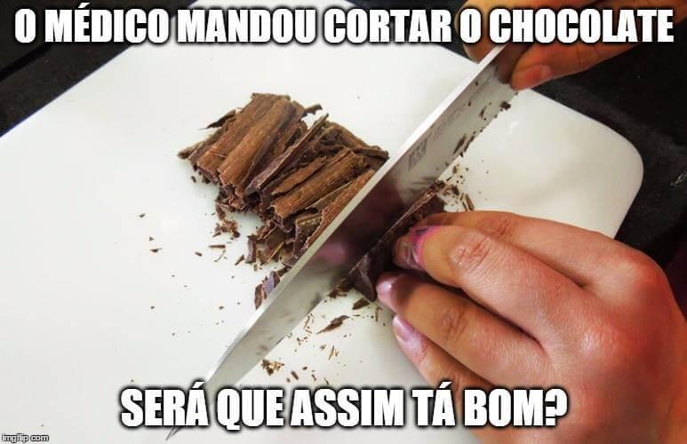 Recado Facebook Cortar o chocolate